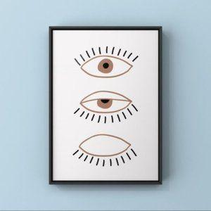 Trendy boho eyes illustration abstract art print